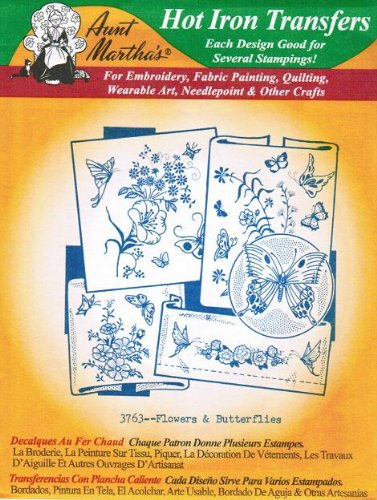 Flowers & Butterflies Aunt Martha's Hot Iron Embroidery Transfer