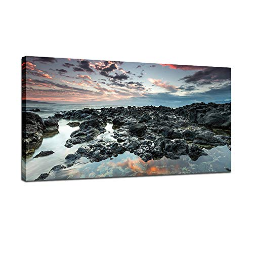 BIL-YOPIN Canvas Wall Art Sea Beach Sunset Ocean Nature Pictures Seascape Artwork Prints 20x40in Landscape Wall Art Decor for Home Living Room Bedroom Decoration Office Framed Ready to Hang,Dark Blue (Framed Pictures Ocean)