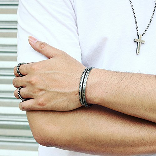 Osye Indian Navajo Tattoo Titanium Cuff Bracelet for Men