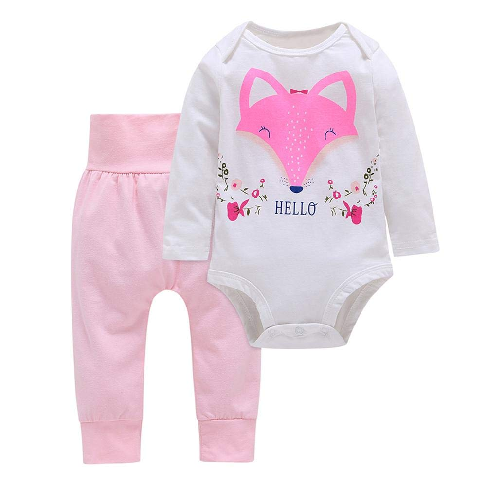 Diamondo 2pcs//Set Baby Girl Romper Fox Print Long Sleeve Pants Tops Kids Clothes