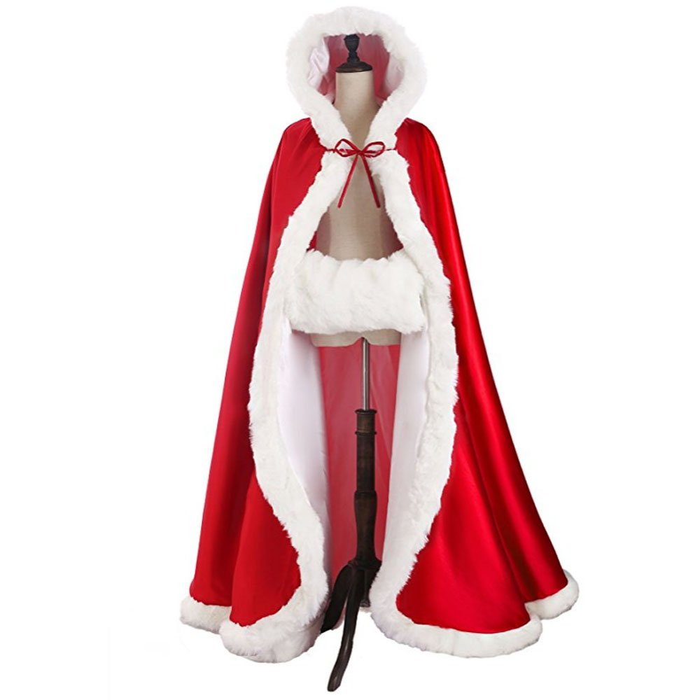Wedding Shawl Hooded cloak bride winter reversible with fur trim length 50 55 inches (Apple Red, 50'')