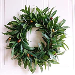 Dseap Artificial Nearly Real Olive Leaf Wreath 4