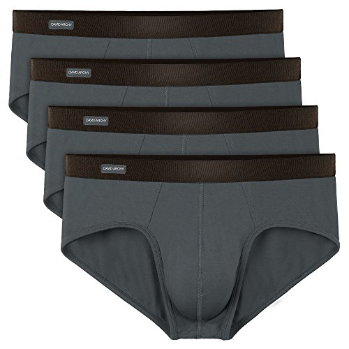 (David Archy Men's 4 Pack Bamboo Rayon Ultra Soft Breathable Pouch Briefs No Fly (L, Dark Gray-No Fly))