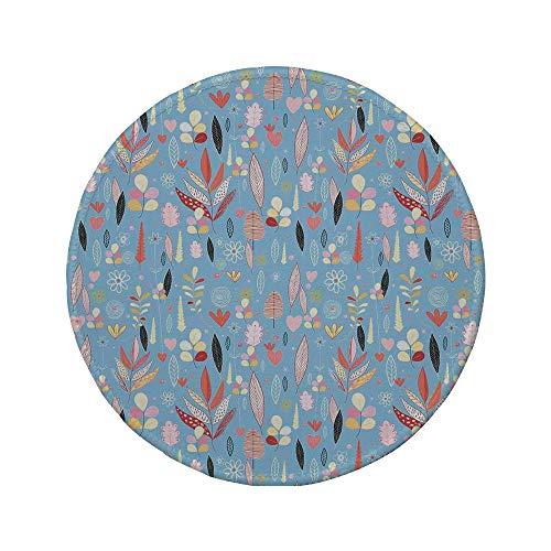 Non-Slip Rubber Round Mouse Pad,Colorful,Floral Artwork Autumn Leaves on Blue Backdrop Garden Theme Nature Illustration,Multicolor,7.87