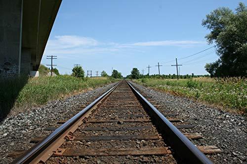 Home Comforts Canvas Print Train Tracks Wallpaper Stone Rails Bridge Sunny Vivid Imagery Stretched Canvas 32 x 24