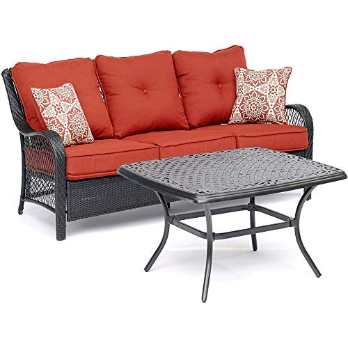 Envelor Hanover Orleans 2 Piece Outdoor Resin Chat Set Garden Backyard Patio Furniture Conversation Bistro Set with Deep-Seating Sofa Red Bordered Cushions and Cast-Top Coffee Table