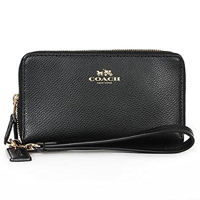 Coach Crossgrain Leather Double Zip Phone Wristlet 53896 Black
