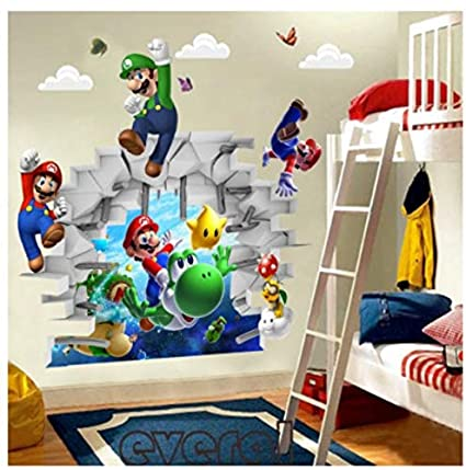 JHFVB Super Mario Brothers Kunst Wandaufkleber Abziehbilder Kinderzimmer  Dekoration abnehmbar