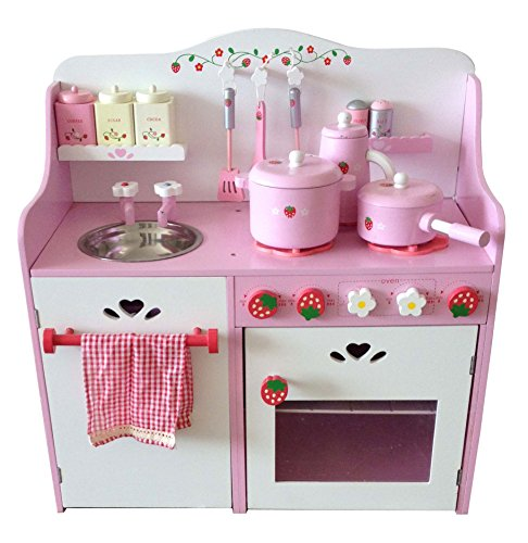 Merske Berry Toys My Strawberry Wooden Play Kitchen