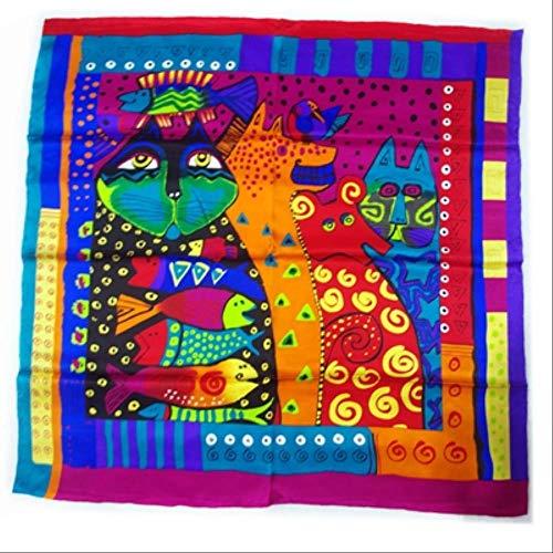 ruofengpuzi Pintura al oleo de renombre mundial Diseno de arte Bufanda de seda cuadrada Chal Gato de 3 colores con estampado verde