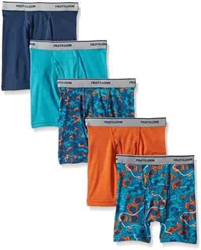 Fruit of the Loom Boys' Boxer Brief, Exposed and Covered Waistband (Pack of 5)