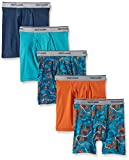 Fruit of the Loom Boys' Boxer Brief, Exposed and Covered Waistband, Print/Solid - Assorted (Pack of 5) Large