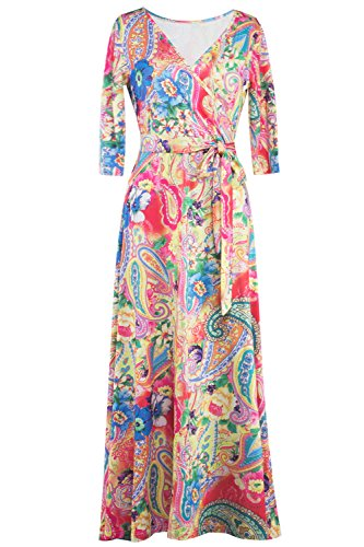 MIHOLL Women's 3/4 Sleeve Faux Wrap Maxi Dress (XX-Large, Yellow Pink) - Maxi Dresses For Women For Church