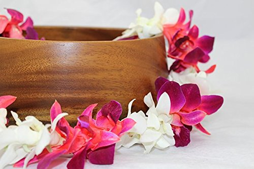 Fresh Hawaiian Orchid Flower Lei, Single Strand - Mixed White and tinted Red Orchids (Hawaii Fresh Flowers)
