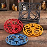 The Pioneer Woman 4-Piece Timeless Beauty Cast Iron Cookbook Holder And Trivet Set