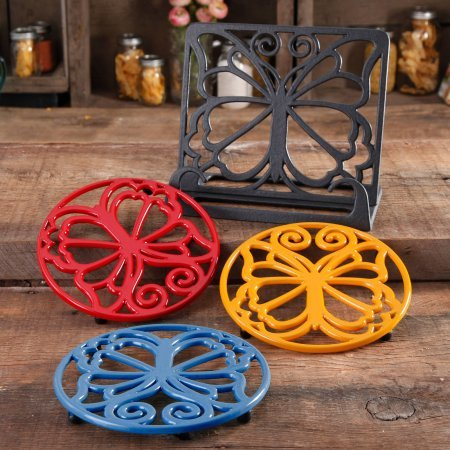 The Pioneer Woman 4-Piece Timeless Beauty Cast Iron Cookbook Holder And Trivet Set by The Pioneer Woman