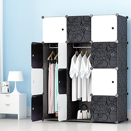 MEGAFUTURE Portable Wardrobe Closet for Hanging Clothes, Wall Décor, Combination Armoire, Modular Cabinet for Space Saving, Ideal Storage Organizer Cube for Books, Toys, Towels(12-Cube) (Armoire Clothing With Mirror)