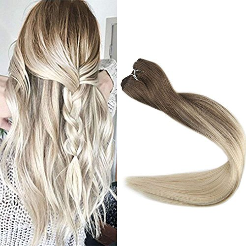Full shine 20 inch Real Hair Weft Hair Bundles Full Head Remy Hair Extensions Balayage Ombre Weave Hair Extensions Color #8 Fading to #60 Plautinum Blonde Hair Extensions 100g/perpackage