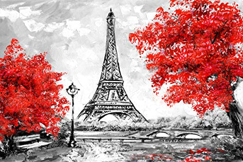 Scene Original Oil Painting - Kate 36x24 inch Modern City Scene Hand Oil Paintings Black&Red Eiffel Tower Art Painted Decoration Abstract Room Canvas Decor