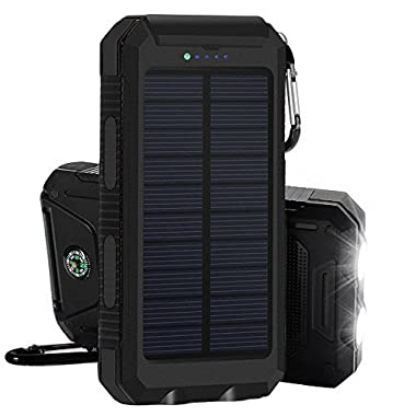 Solar Charger, iBeek® Portable 10000mAh Dual USB Solar Battery Charger External Battery Pack Phone Charger Power Bank with Flashlight & Compass for Outdoors (Rainproof, Dust-proof, Shockproof) - Black