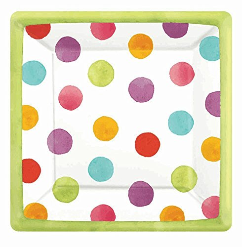 Amscan Disposable Square Paper Dessert Plates in Watercolor Polka Dots (18 Pack), 7 x 7