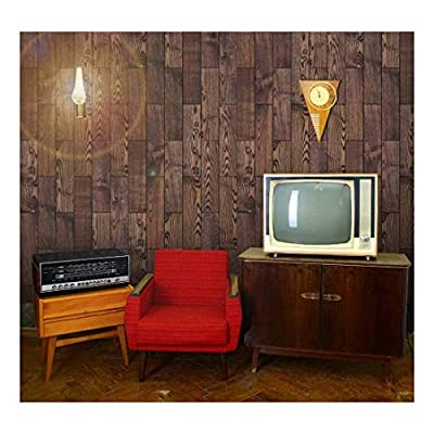 Beautiful Object of Art, Created By a Professional Artist, Vertical Rich Brown Vintage and Retro Wood Textured Paneling Wall Mural Removable Wallpaper