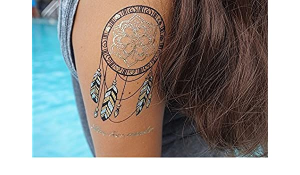 Oro flash Tattoo atrapasueños plumas también Plata YS de 33 ...