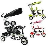 Costway Kids 4 In 1Trike Child 3 Wheel Bike W/Handle Baby Infant Twin Seats Red/Green (Black)