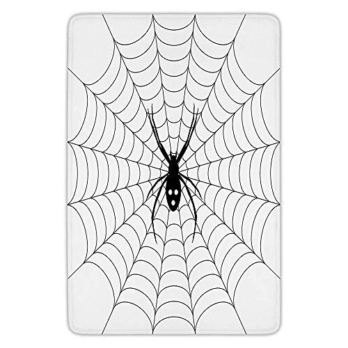 Bathroom Bath Rug Kitchen Floor Mat Carpet,Spider Web,Poisonous Bug Venom Thread Circular Cobweb Arachnid Cartoon Halloween Icon Decorative,Black White,Flannel Microfiber Non-slip Soft Absorbent]()