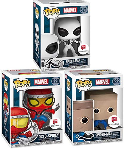 Spidey Set Future Foundation White Suit + Spider-Man Paper Bag (Bombastic Bag-Man) Exclusive Pop! Marvel Bundled with Octo-Spidey Limited Vinyl Character Figure 3 Items (The Amazing Spider Man 3 Doc Ock)