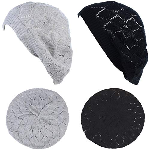 BYOS Chic Soft Knit Airy Cutout Lightweight Slouchy Crochet Beret Beanie - Ribbed Striped Cap