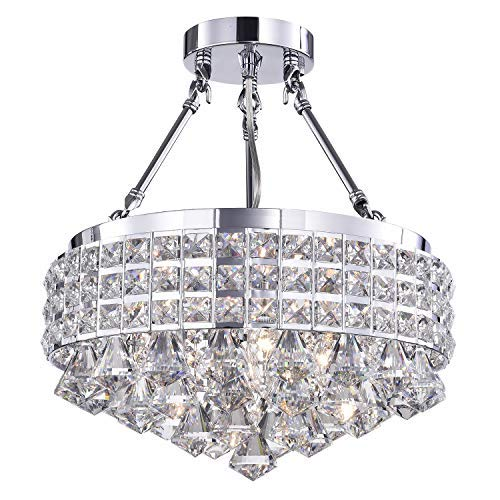 (Edvivi 4-Light Chrome Semi Flush Mount Round Crystal Beaded Drum Shade with Hanging Crystals | Glam Lighting)