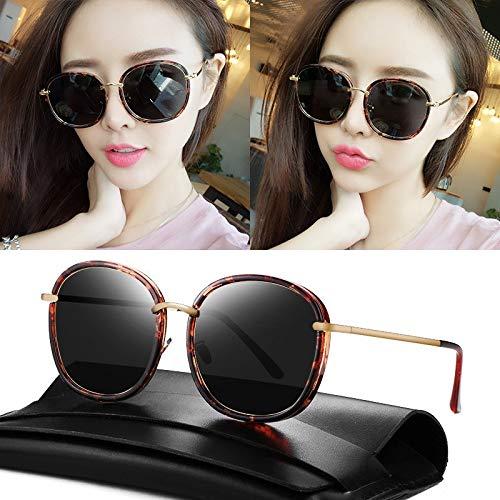 Korea 2018 Personality Polarized Sunglasses Driving Glasses Star Resort Fashion Star Round face, Sunglasses Tide Men Man Glasses (Amber Box - Black and Gray Piece (hd Polarized) t