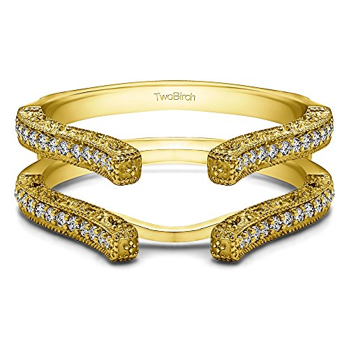 TwoBirch 0.36 ct. Diamonds (G-H,SI2-I1) Cathedral Filigree Wedding Ring Guard in 14k Yellow Gold (3/8 ct.) ()