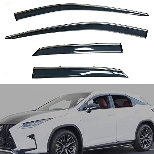 EZ Motoring Sun/Rain Guard Vent Shade Window Visors Wind Deflector for 2016-2018 Lexus RX350 / RX450h (Will NOT fit RX350L / RX450hL)(Injection Molding Made of Polycarbonate PC Material)