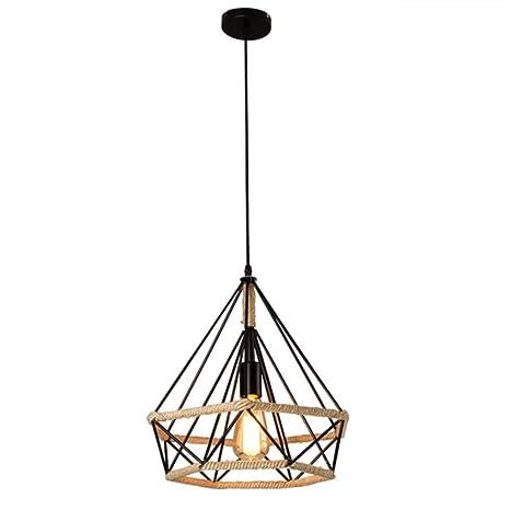 Lámpara Colgante Vintage,Luz de Techo Retro,Iluminación Suspensión industrial cuerda de cáñamo Loft luz E27,Diámetro 25 cm,Luz de cuerda ...