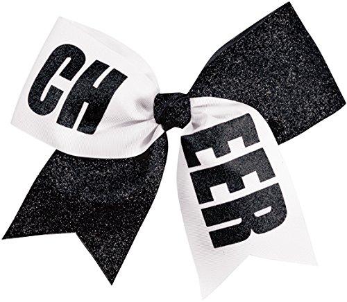 Chassé Girls' Cheer Performance Hair Bow Glitter Black/White