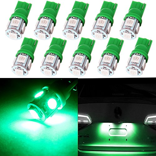 cciyu 194 Extremely Bright LED Bulbs T10 5-5050-SMD Light Lamp License Plate Light Lamp Wedge T10 168 2825 W5W Green Pack of 10 (Door 94 Jeep Cherokee Panel Grand)