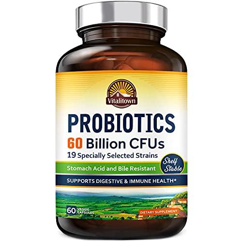 Vitalitown Probiotics + Prebiotics   60 Billion CFUs 19 Strains   60 Delayed Release Veg Caps   Shelf Stable, Stomach Acid & Bile Resistant   Digestive & Immune Support   Vegan, Non-GMO, No Dairy