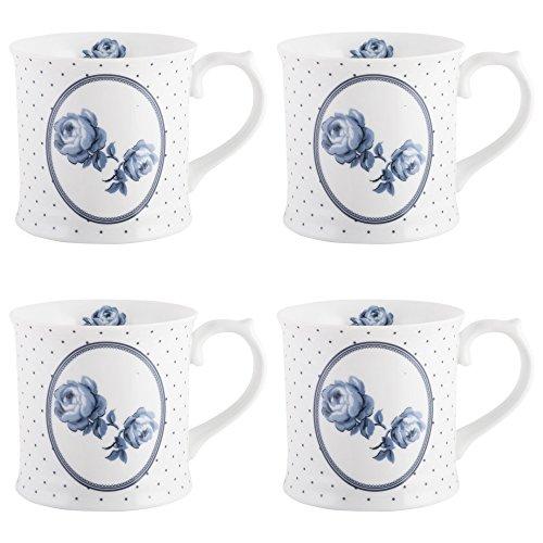 Katie Alice Vintage Indigo Floral Spot Mugs, 400 ml - White/Blue (Set of 4)