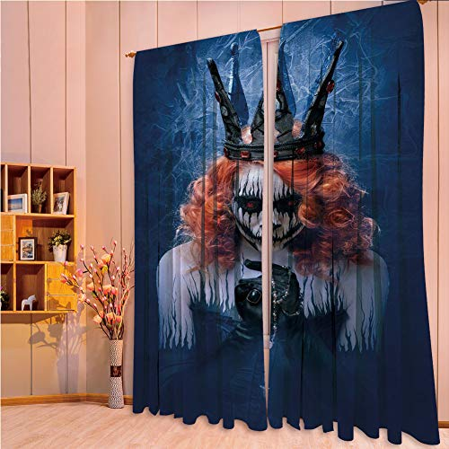 franlinkcossosoph Polyester Window Drapes Kitchen Curtains,Queen,Queen of Death Scary Body Art Halloween Evil Face Bizarre Make Up Zombie,Navy Blue Orange Black,108.3