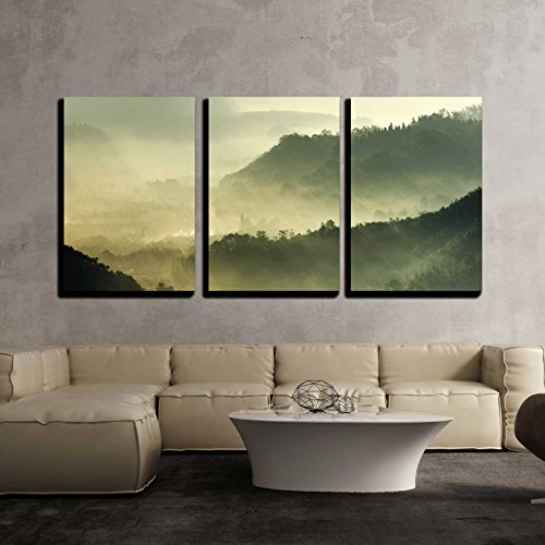 wall26 - 3 Piece Canvas Wall Art - Morning Sunshine with Fog - Modern Home Decor Stretched and Framed Ready to Hang - 16