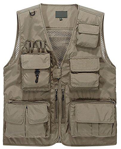 Lamdgbway Outdoor Multi-pocketed Fishing Vest Sleeveless Mesh Quick-Dry Waistcoat Jacket Khaki XX-Large