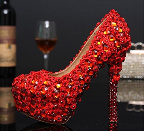 Mnii Bonne Mariée Shoes Court End De Rhinestonesgorgeous Demoiselle Stiletto Qualité Red Platform High Heels Purple Robes Rhinestones D'honneur Ladies Party Women Designer pqwrpfBS