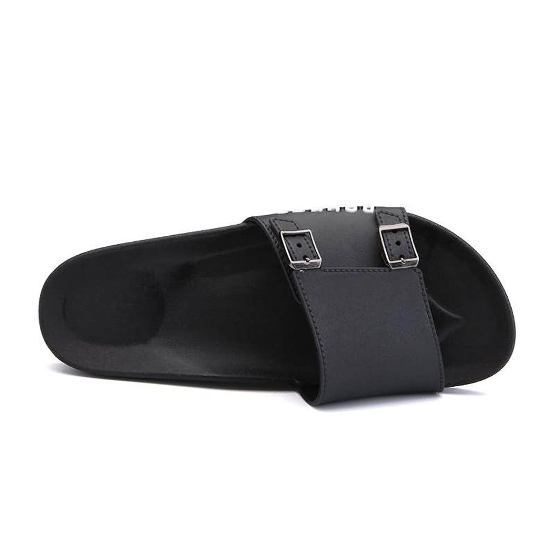 Easy Go Shopping Les Sandales de Glissière de Mode de Large Bande de Pantoufle des Hommes avec la Double Plate-Forme de Mini Boucles en Métal,pour Hommes (Color : White, Size : 45EU)