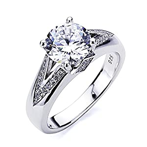 Platinum Plated Sterling Silver 2ct Round CZ Solitaire Wedding Engagement Ring ( Size 5 to 9 ), 7