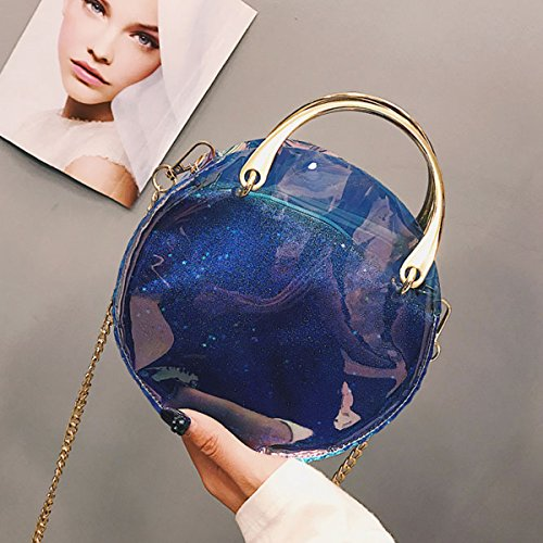 à Clear métal à main à rond bandoulière clair en sac Flada sacs bandoulière avec bleu Fashion laser bracelet sac Bleu Xd7FxW