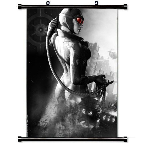 - 23.6 X 35.4 Inch Wall Posters,Batman Arkham City Catwoman Game Name Girl City Black And White (60cm X 90 cm) Fashionable Home Decor Wall Scroll Poster Fabric Painting