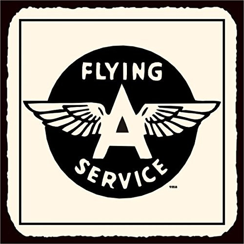 Sign Tin Flying (Flying A Service Vintage Airplane Aviation Tin Metal Retro Metal Tin Sign 12X12 Inches Square Metal Signs Vintage)