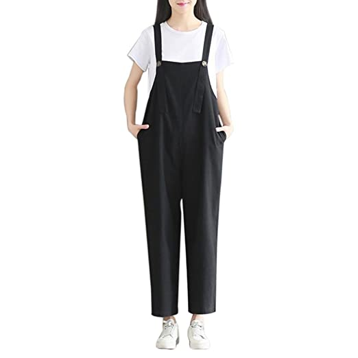 7507271ebf7 RAISINGTOP Women Loose Jumpsuit Strap Trousers Casual Overall Baggy Overalls  Wide Leg Rompers Work Pants Outfit